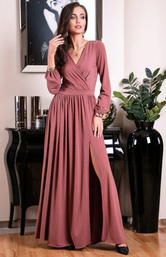 Sukienka długa wieczorowa kopertowa różowa