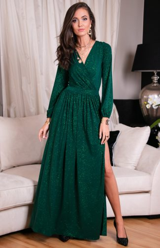 Sukienka długa wieczorowa kopertowa zielona