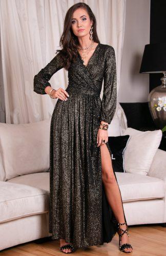 Sukienka długa wieczorowa kopertowa złota