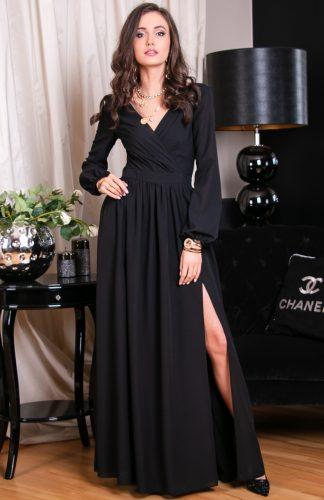Sukienka maxi wieczorowa kopertowa czarna