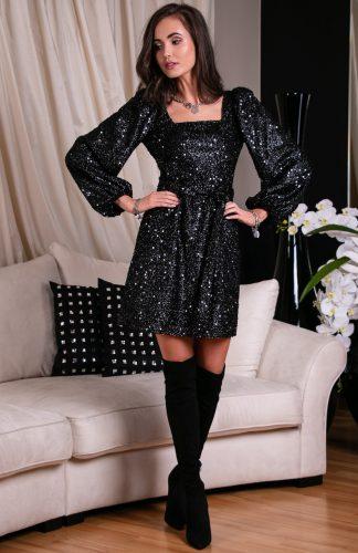 Sukienka cekinowa z szerokimi rękawami czarna