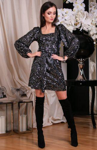 Sukienka cekinowa z szerokimi rękawami srebrna