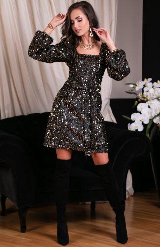 Sukienka cekinowa z szerokimi rękawami złota