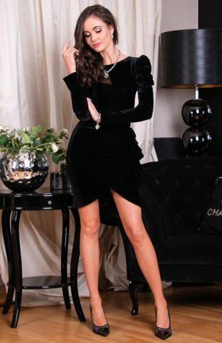 Sukienka welurowa mini elegancka czarna