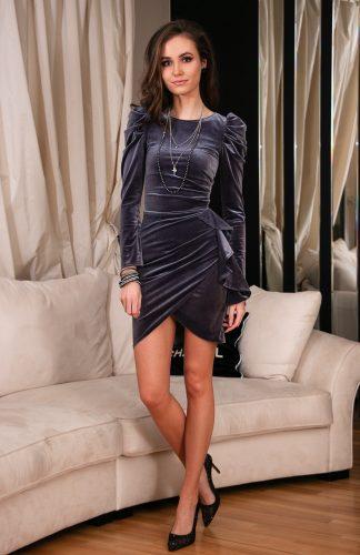 Sukienka welurowa mini elegancka szara
