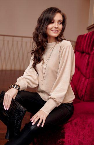 Bluzka welurowa elegancka z szerokimi rękawami
