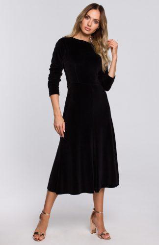 Sukienka welurowa midi rozkloszowana elegancka czarna