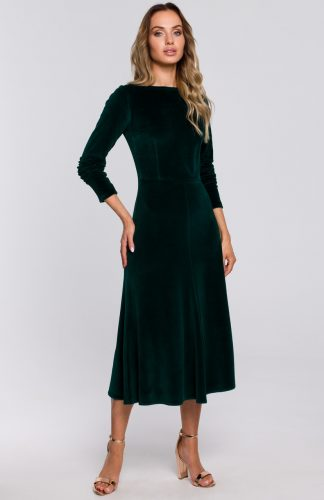 Sukienka welurowa midi rozkloszowana elegancka zielona