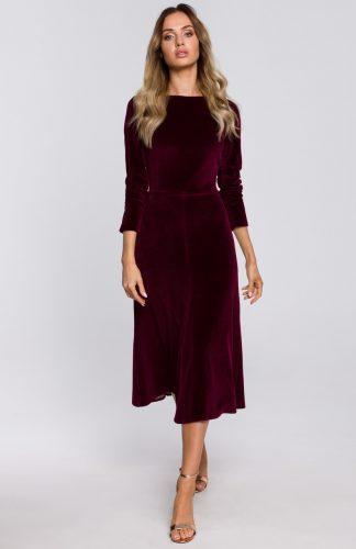 Sukienka welurowa midi rozkloszowana elegancka bordowa