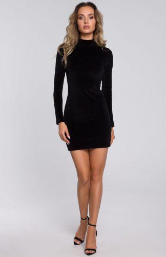 Sukienka welurowa mini ze stójką czarna