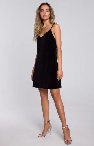 Sukienka welurowa trapezowa mini czarna