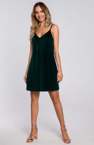 Sukienka welurowa trapezowa mini zielona