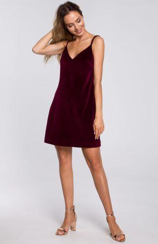 Sukienka welurowa trapezowa mini bordowa