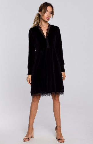 Sukienka welurowa elegancka z koronką czarna