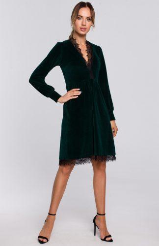 Sukienka welurowa elegancka z koronką zielona