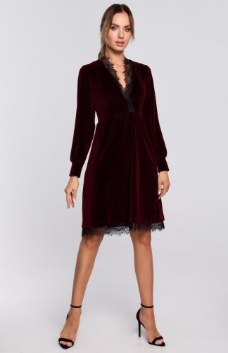Sukienka welurowa elegancka z koronką bordowa