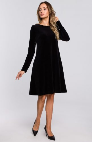 Sukienka welurowa trapezowa wizytowa czarna
