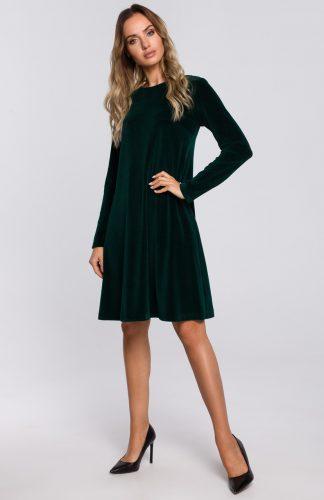 Sukienka welurowa trapezowa wizytowa zielona