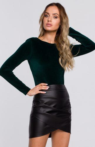 Body welurowe eleganckie z długim rękawem zielone