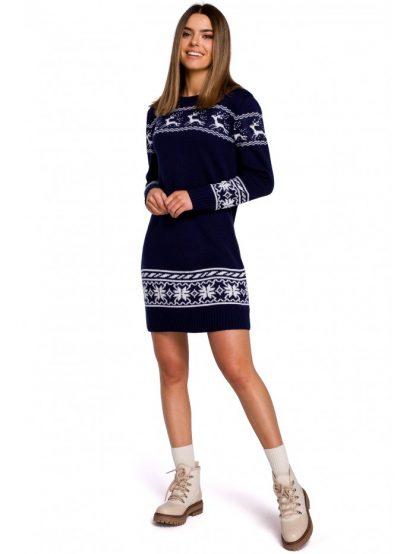 Sukienka świąteczna swetrowa granatowa