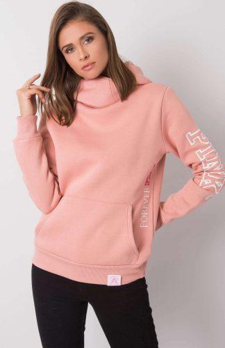 Bluza damska długa ciepła z kapturem różowa