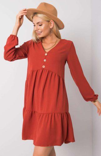 Sukienka z falbanami odcinana w pasie