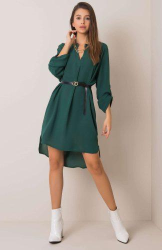 Sukienka koszulowa z paskiem zielona