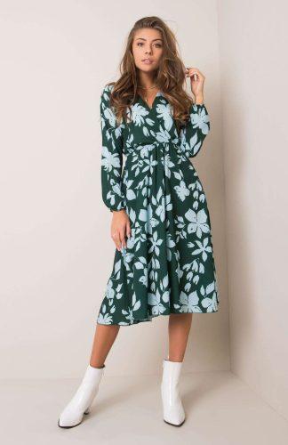 Sukienka kopertowa midi w kwiaty elegancka