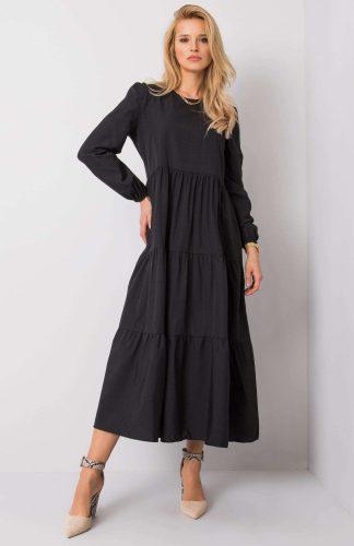 Sukienka długa z falbanami czarna