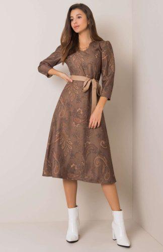 Sukienka elegancka midi z bufkami na ramionach