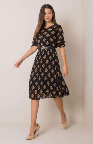 Sukienka wizytowa plisowana z paskiem