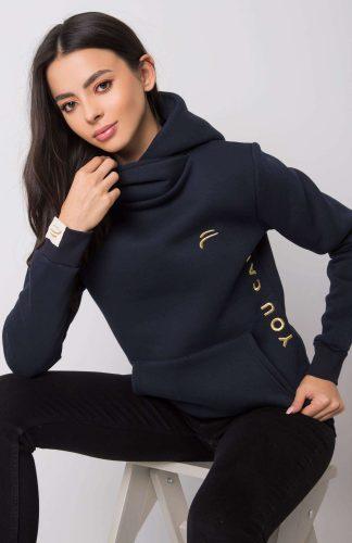 Bluza damska długa ciepła z kapturem granat