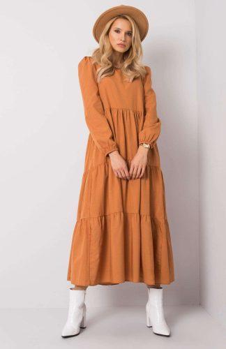 Sukienka długa z falbanami brązowa