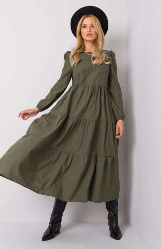 Sukienka długa z falbanami khaki