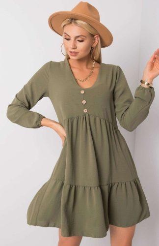 Sukienka z falbanami odcinana w pasie khaki