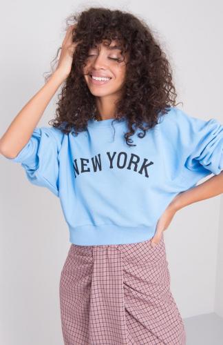 Bluza damska bawełniana krótka błękitna