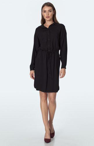 Sukienka koszulowa kimonowa na guziki czarna