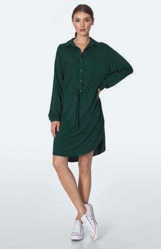 Sukienka koszulowa kimonowa na guziki zielona