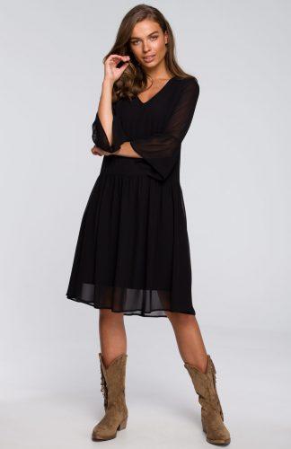 Sukienka szyfonowa odcinana w pasie czarna