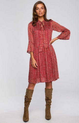 Sukienka szyfonowa odcinana w pasie z falbanami