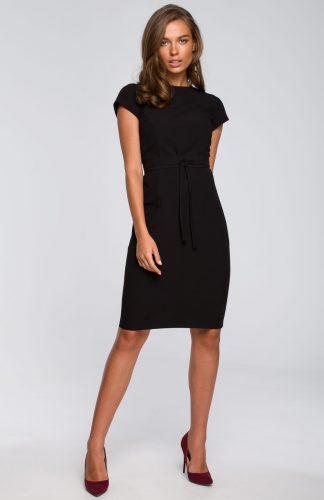 Sukienka ołówkowa elegancka z paskiem czarna