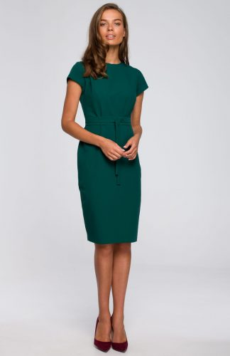Sukienka ołówkowa elegancka z paskiem zielona