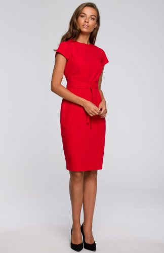 Sukienka ołówkowa elegancka z paskiem czerwona