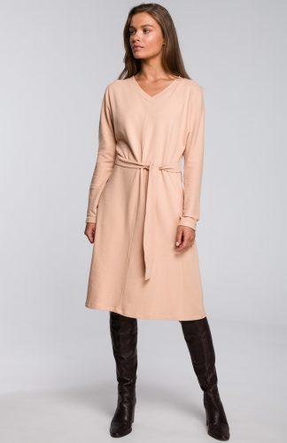 Sukienka dresowa elegancka rozkloszowana beżowa
