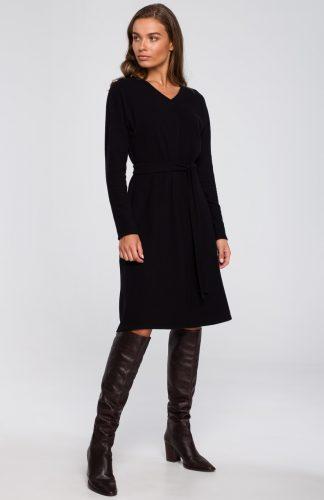 Sukienka dresowa elegancka rozkloszowana czarna