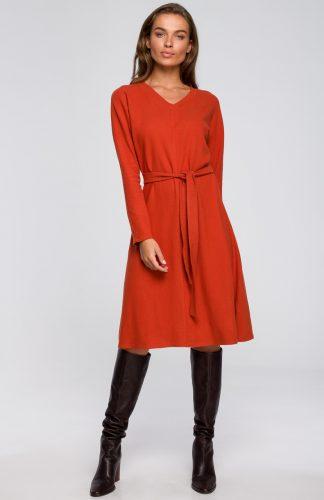 Sukienka dresowa elegancka rozkloszowana ruda