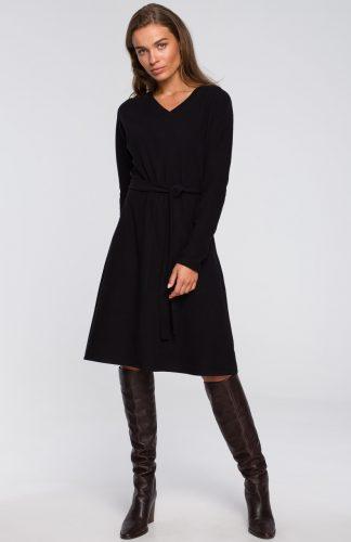 Sukienka trapezowa midi z wiskozy czarna