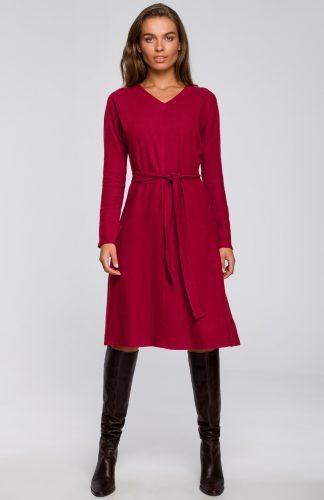 Sukienka trapezowa midi z wiskozy wiśniowa