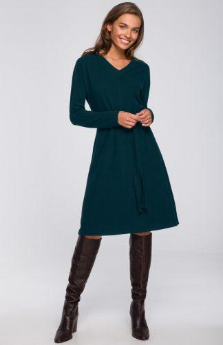 Sukienka trapezowa midi z wiskozy zielona