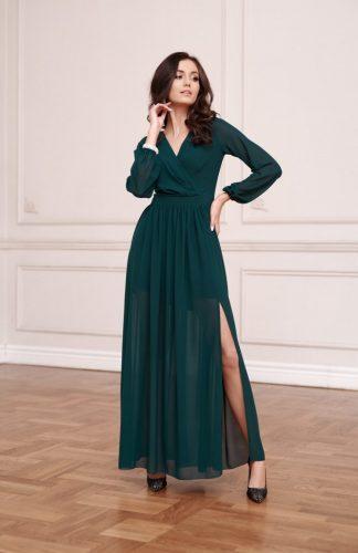 Sukienka maxi wieczorowa kopertowa zielona